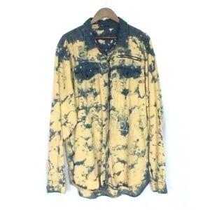 Custom Grunge Bleached Jean Button Down Shirt